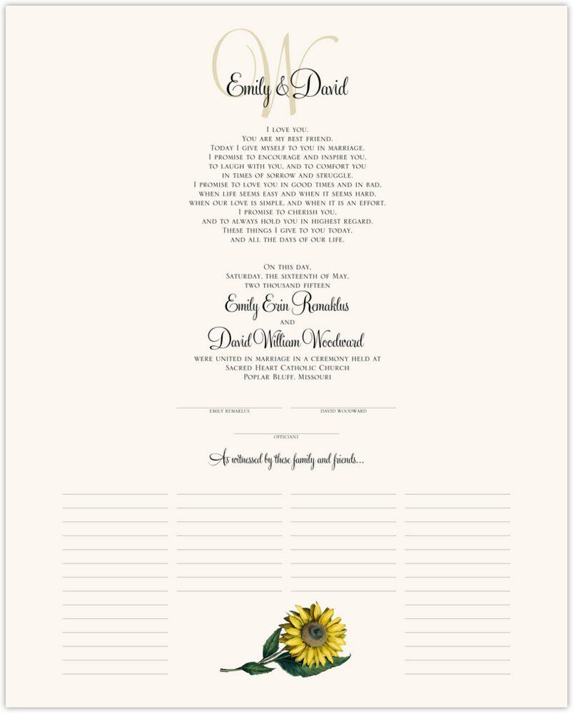 Sunflower  Wedding Certificates