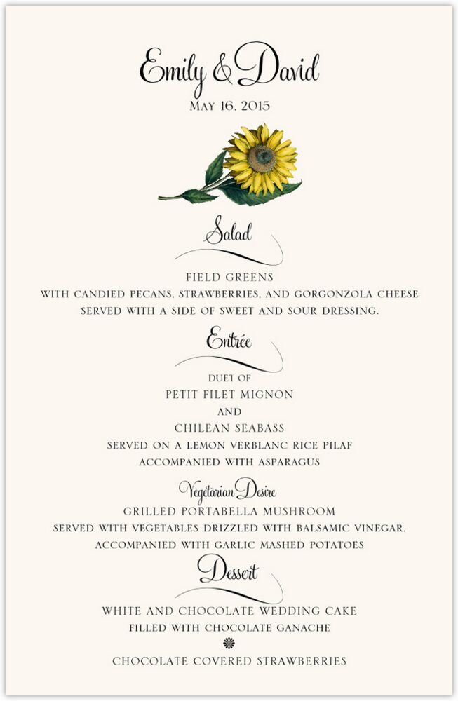 Sunflower  Wedding Menus