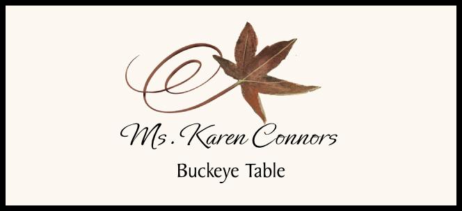 Buckeye Swirly Leaf  Place Cards
