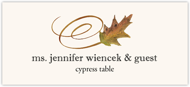 Cypress Swirly Leaf  Place Cards
