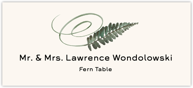 Fern Swirly Leaf  Place Cards