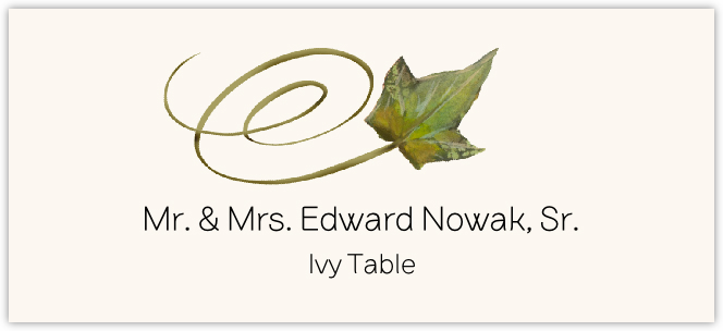 Ivy Swirly Leaf  Place Cards