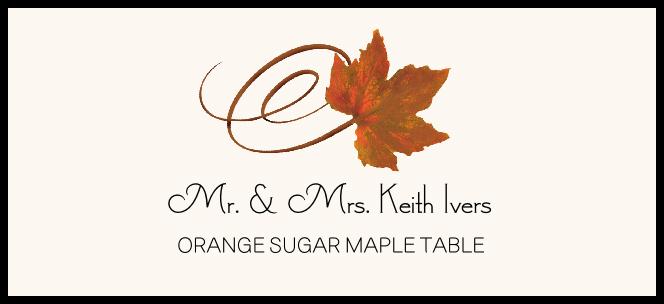 Orange Sugar Maple Swirly Leaf  Place Cards