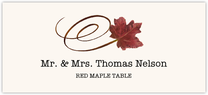 Red Maple Swirly Leaf  Place Cards