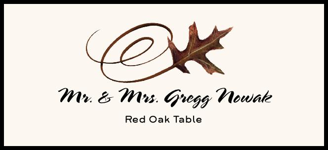 Red Oak Swirly Leaf  Place Cards