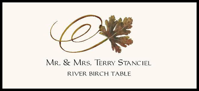 River Birch Swirly Leaf  Place Cards