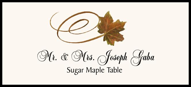 Sugar Maple Swirly Leaf  Place Cards