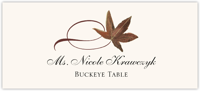 Buckeye Twisty Leaf  Place Cards