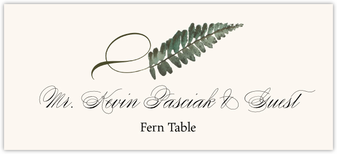 Fern Twisty Leaf  Place Cards