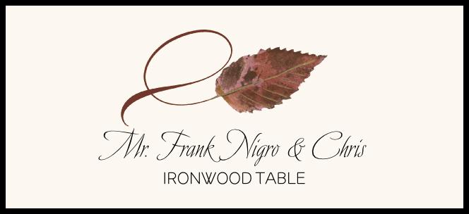 Ironwood Twisty Leaf  Place Cards