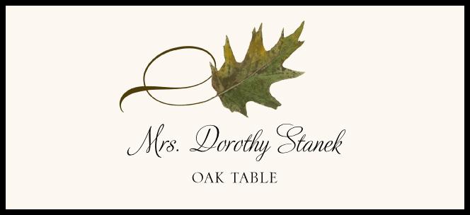 Oak Twisty Leaf  Place Cards