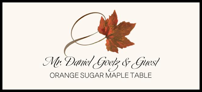Orange Sugar Maple Twisty Leaf  Place Cards