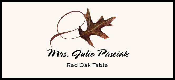 Red Oak Twisty Leaf  Place Cards