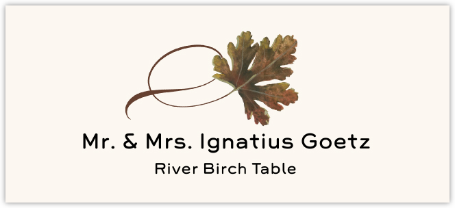 River Birch Twisty Leaf  Place Cards