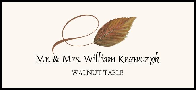 Walnut Twisty Leaf  Place Cards