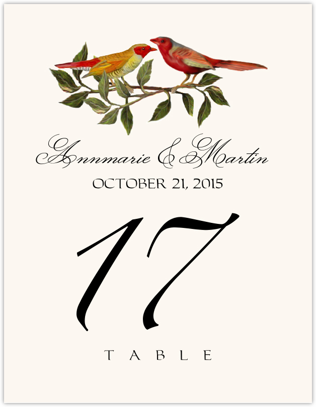 Two Red Birds  Table Numbers