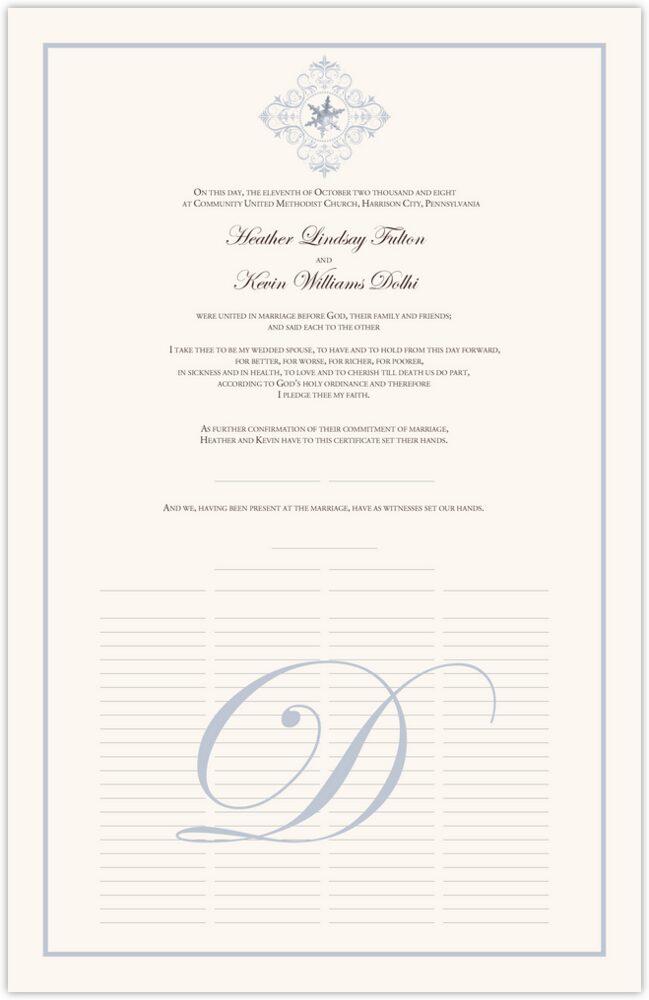 Vintage Spiral Snowflake  Wedding Certificates