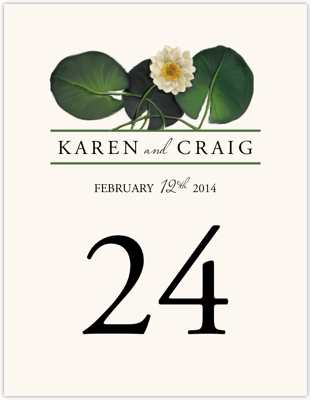 Water Lily Patch  Table Numbers