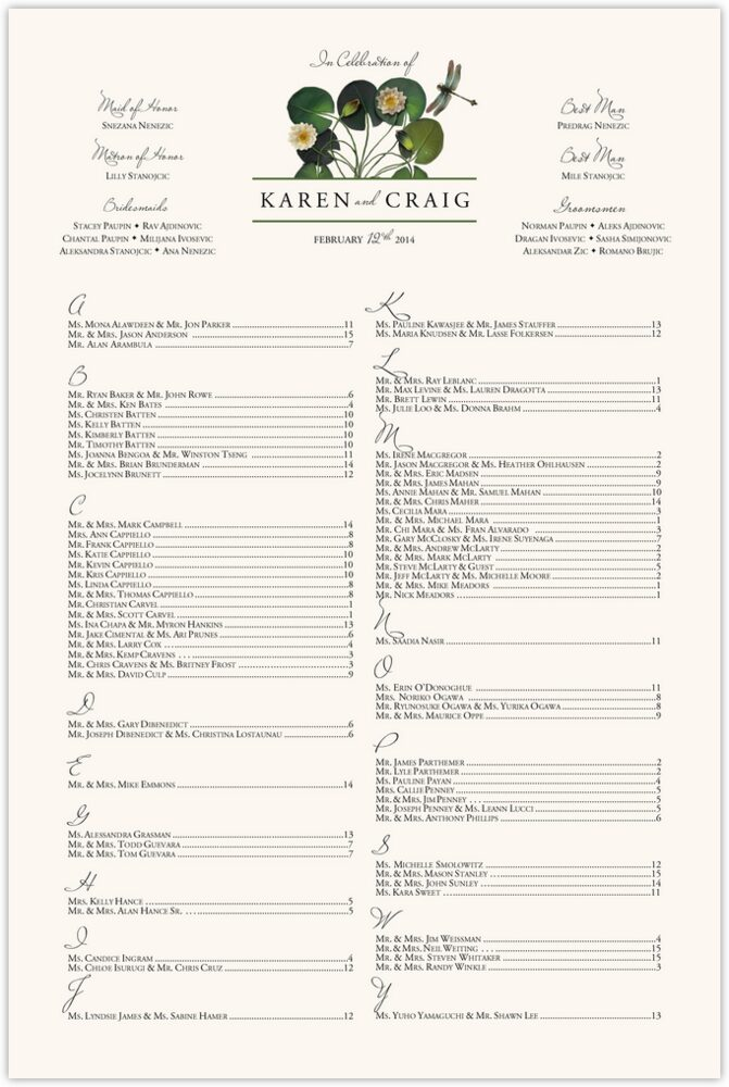 Water Lily Patch  Seating Charts