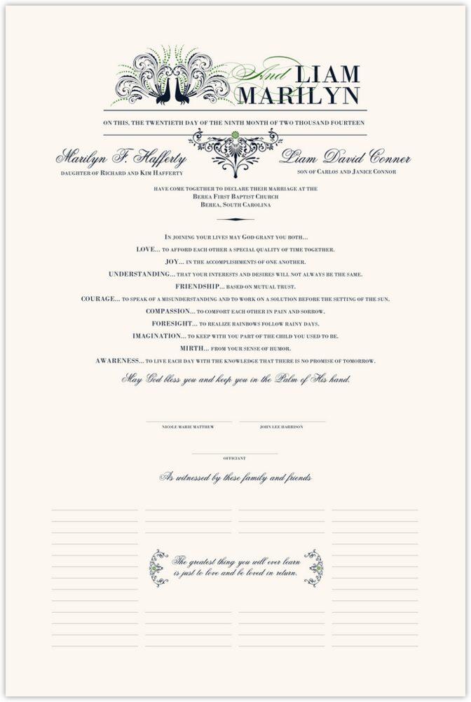 Passionate Peacock 01  Wedding Certificates