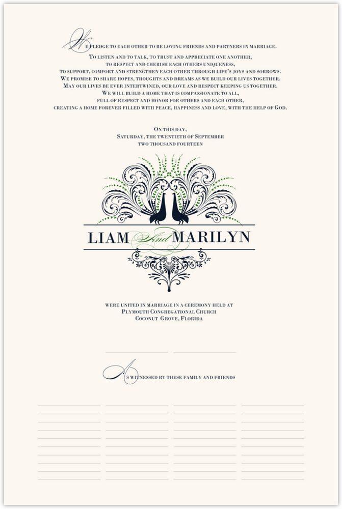 Passionate Peacock 02  Wedding Certificates