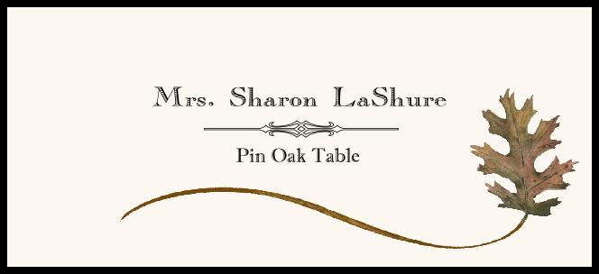 Pin Oak Wispy Leaf  Place Cards