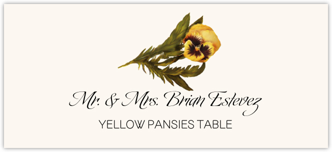 Yellow Pansies  Place Cards