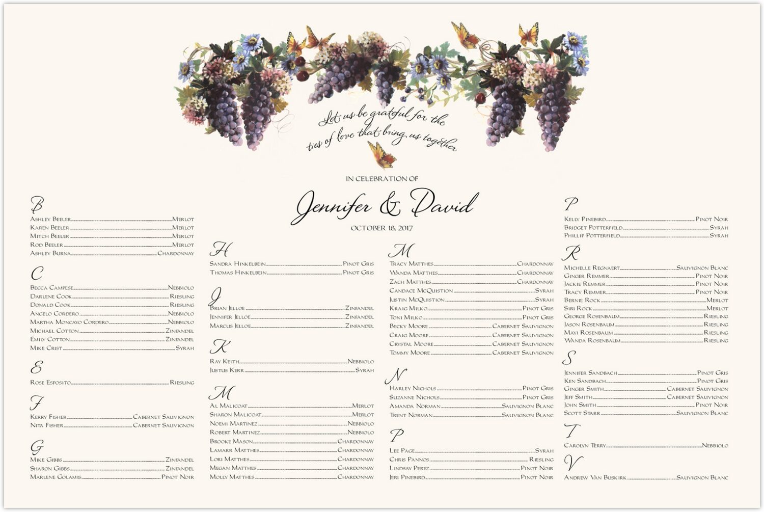 Blue Grapes and Butterflies 2  Seating Charts