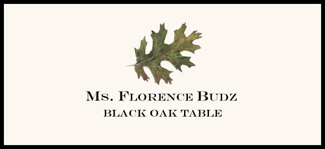 Black Oak Colorful Leaf  Place Cards