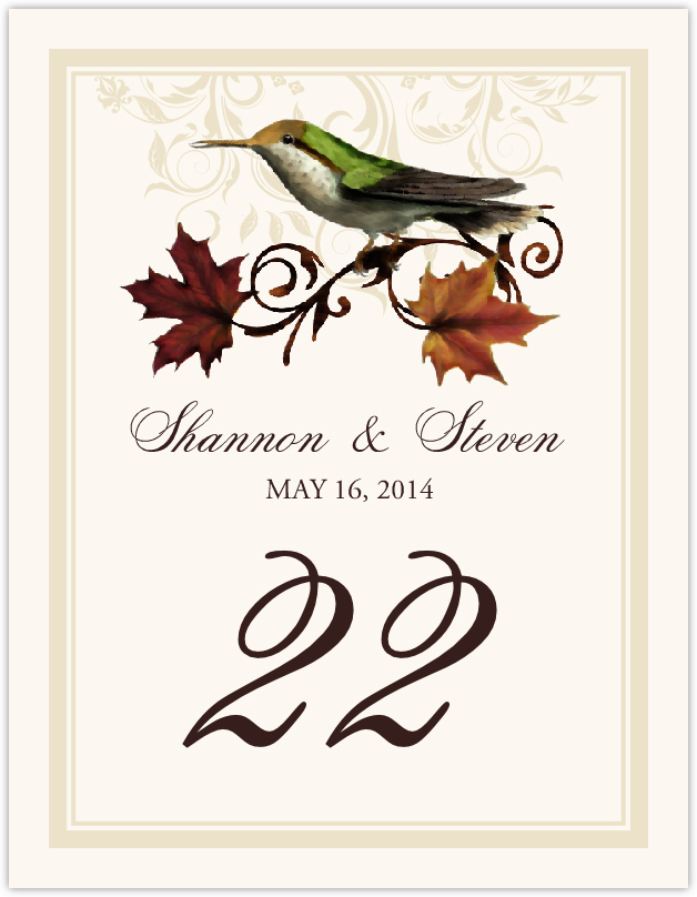 Fall Indy  Table Numbers