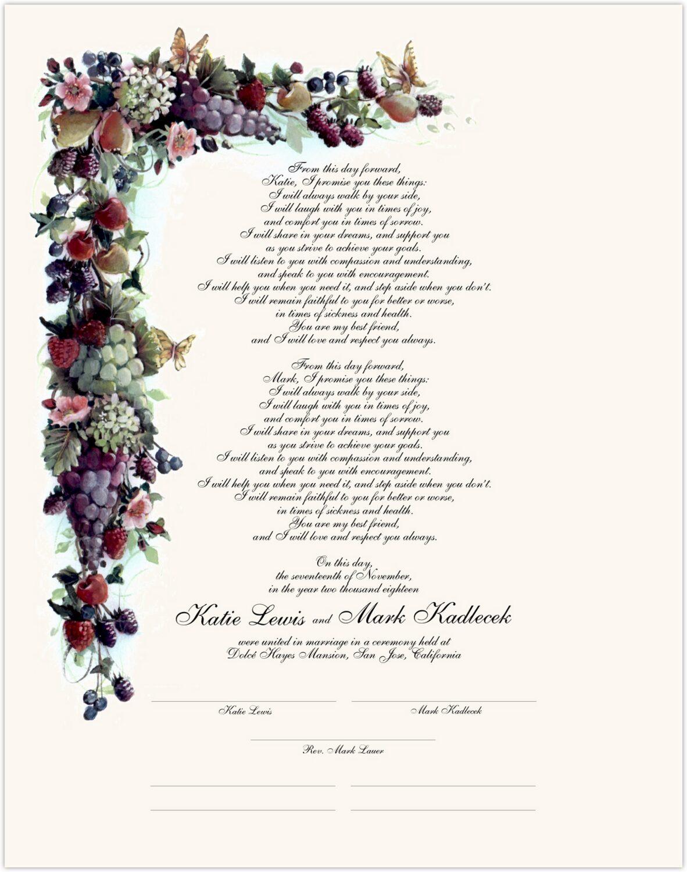 Fruit and Butterflies  Wedding Certificates