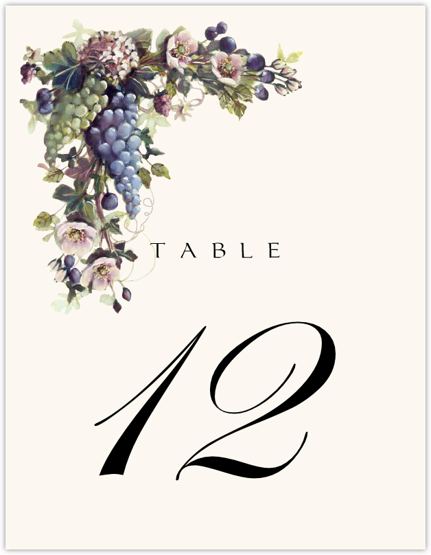 Green and Blue Grapes  Table Numbers