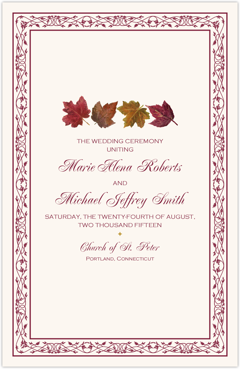 Maple Leaf Pattern  Wedding Programs