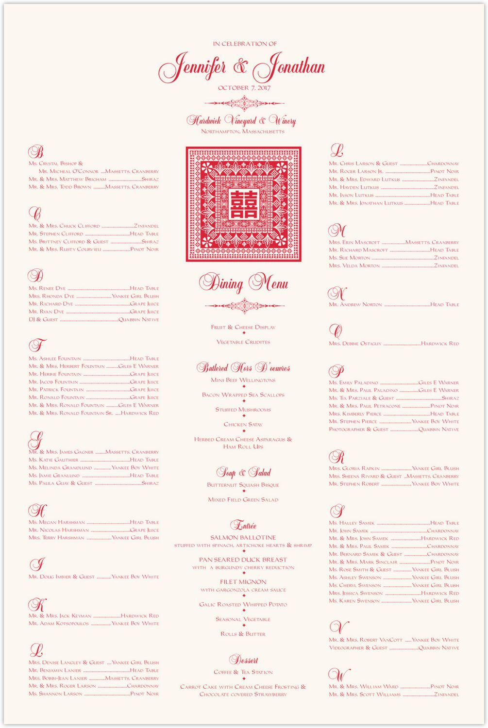 Orient Pattern with Double Happiness Symbol  Seating Charts