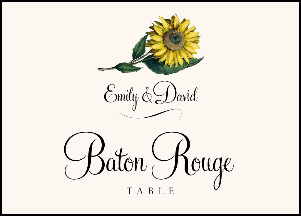 Sunflower  Table Names