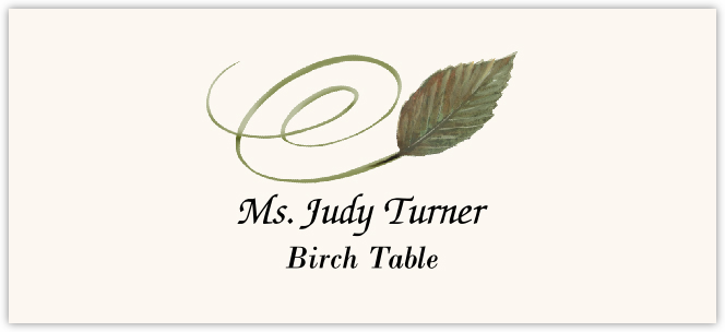 Birch Swirly Leaf  Place Cards