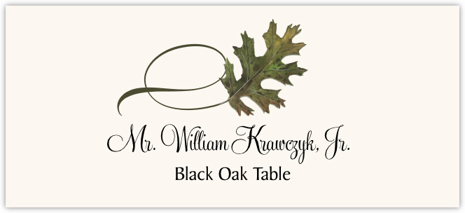 Black Oak Twisty Leaf  Place Cards