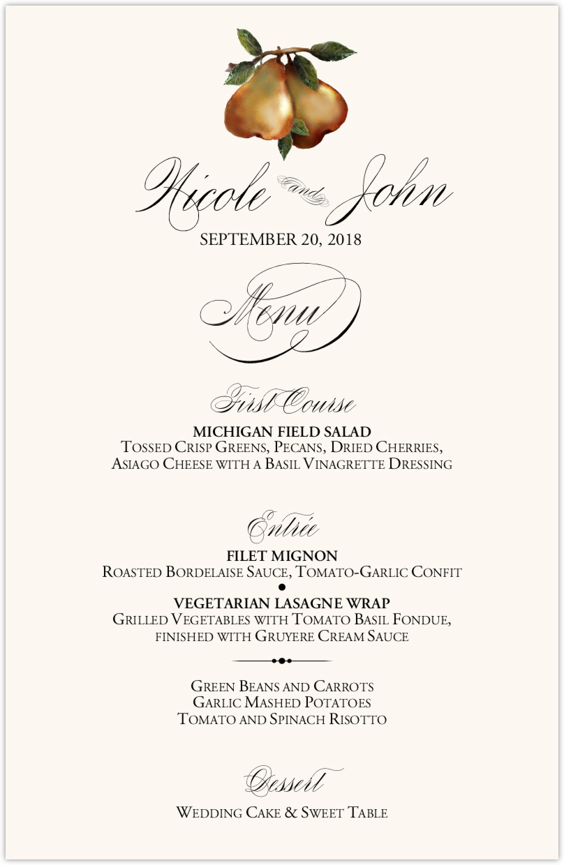Two Pears  Wedding Menus