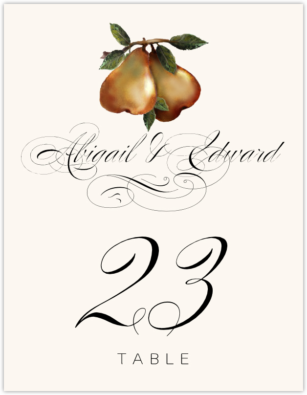 Two Pears  Table Numbers