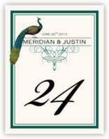 Peacock Flourish Monogram Table Numbers