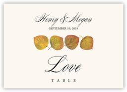 Leaf Pattern Assortment  Table Names