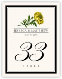 Assorted Flowers and Monogram  Table Numbers