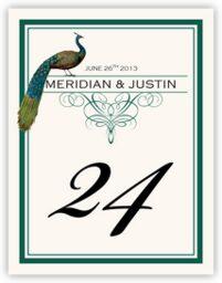Peacock Flourish Monogram  Table Numbers