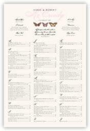 Pink Pattern Butterflies  Seating Charts