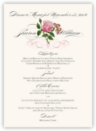 Pink Tea Rose  Wedding Menus