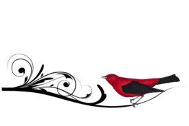 Birds and Butterflies Scarlet Artwork