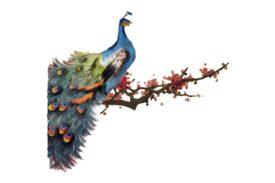 Birds and Butterflies Cherry Peacock Artwork
