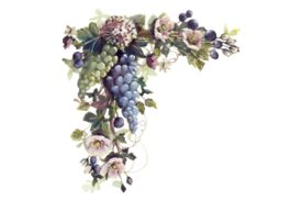 Spring Flowers, Autumn Leaves, Grapes Green and Blue Grapes Artwork