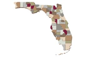 Cultural Illustrations Map of Florida Artwork