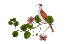 Birds and Butterflies Pink Bird Artwork